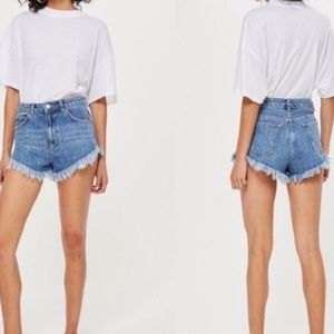 Topshop Kirk Cut Off Fringe Booty Jean Shorts
